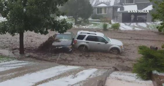 Muddy Mayhem! #Flood water sweeps away cars in #CO. #MustSee video! Latest on @AMHQ NOW! http://bit.ly/1gZvbZm