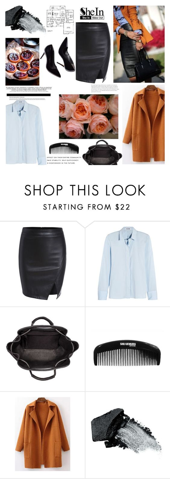 """""""Shein black PU skirt"""" by miska-miska ❤ liked on Polyvore featuring Jil Sander and Gorgeous Cosmetics"""