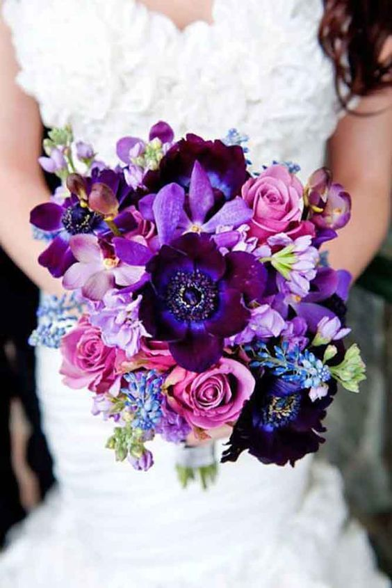 2020 的 100 Purple Wedding Bouquets With Roses And Orchid Spring