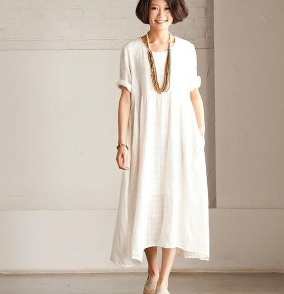 Summer Linen Angle White Dress -Maxi Dress Loose Cotton Tops Short ...