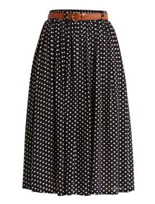 Black Pattern (Black) Black and White Polka Dot Belted Midi Skirt   256893409   New Look