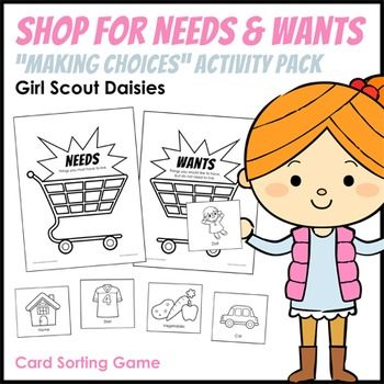 Girl Scout Daisies - Making Choices leaf badge - Step 1 - Daisies find out the difference between needs and wants by playing a shopping-themed card sorting game.