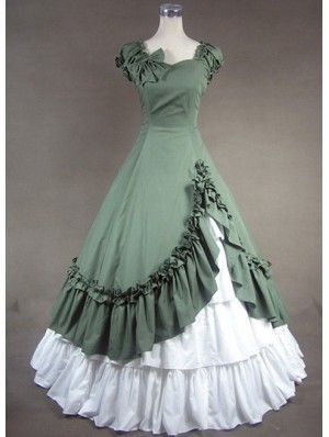 Vintage Green and White Ruffled Gothic Victorian Dress - Vintage ...