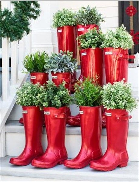 Christmas tree planter decor, Christmas red boots plant, 2013 ...