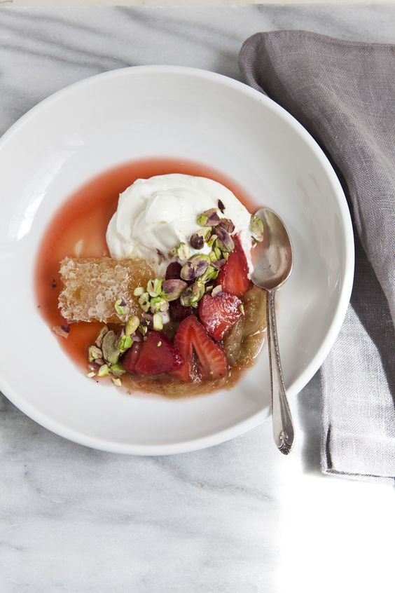 // rhubarb, pistachios, Greek yogurt, honeycomb.