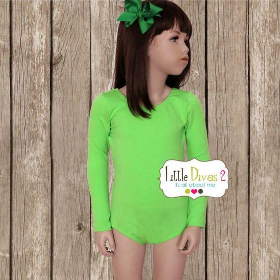 CHILD Lime Green Long Sleeve Leotard by LittleDivas2 on Etsy, $15.99