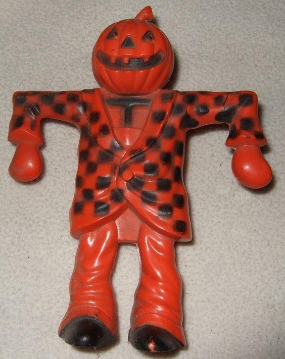 ROSEN ROSBRO 1950s Jack O'Lantern PUMPKIN HEAD Scarecrow CANDY CONTAINER CHECKED
