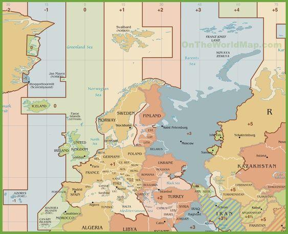 A Quel Océan Correspond La Lettre C Globe Et Cartes Pinterest - Germany map time zones