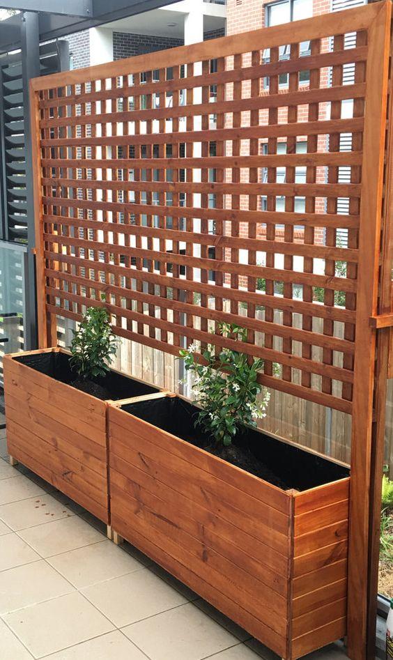 Slimline bois boîte de planteur de jardin pour balcon, terrasse, terrasses et cafés