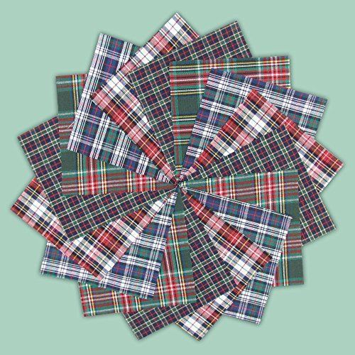 6  Red Tartan Cut Out Fabric Plaid Applique Cotton Scottish Hearts