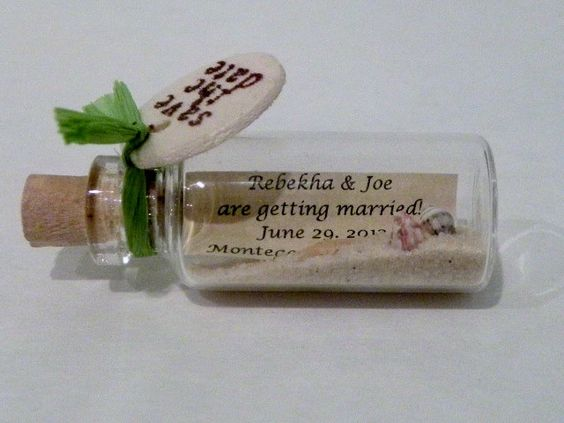 Green Mini Message Bottle Save the Date Magnets sold in lots of 12 – Beach Wedding Save the Date Magnets