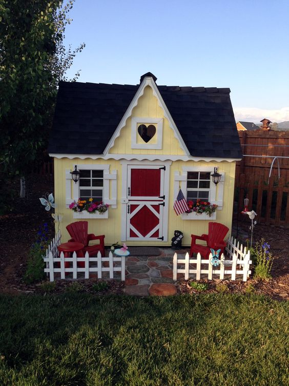 Beautiful outdoor and cottages on pinterest for Outdoor playhouse kit