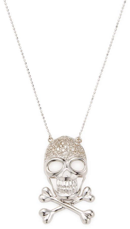 Sterling Silver with Enamel Skull with Cross Bones Pendant