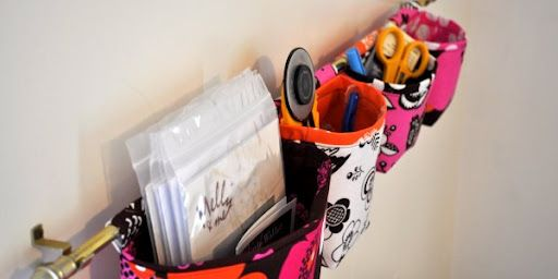 DIY Hanging Fabric Baskets Or Pockets by themotherhuddle #Storage #Fabric_Basket #DIY #themotherhuddle