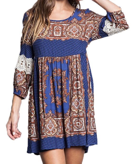 Blue Multi Bell sleeve Boho Mini Dress Junior sizes