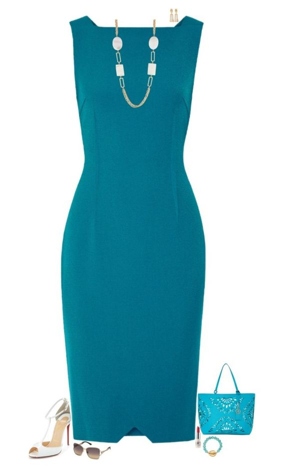 """Teal & white"" by julietajj on Polyvore featuring Trina Turk, Christian Louboutin, Roland Mouret, Fragments, CARGO, Swarovski and Pembe Club"