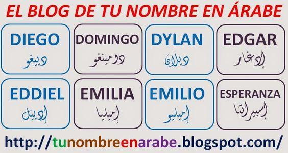 NOMBRES EN ARABE: DIEGO EDGAR EMILIA EMILIO ESPERANZA