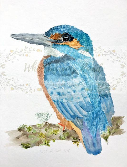 Azure Kingfisher Fine Art Print Of Original Watercolour