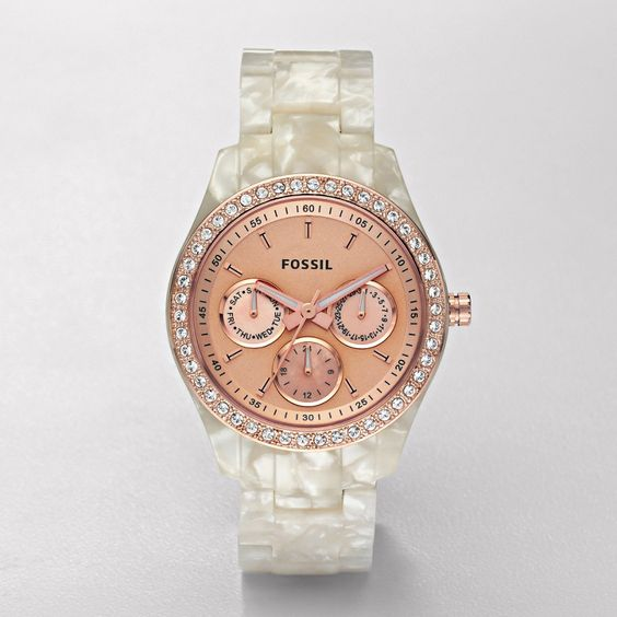 white pearl + rose gold: Stella Watches, Fossil Watches, Pearlized White, Watches Women, Rose Gold Watches, Mother Of Pearls, Watch Pearlized