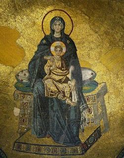 Theotokos - Byzantine mosaic on the arch of the dome inside Hagia Sophia