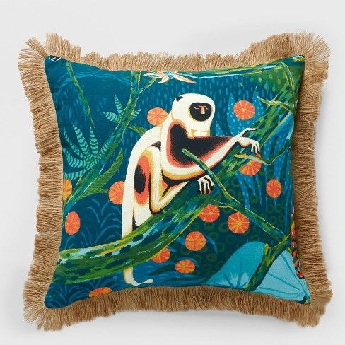 monkey fringe outdoor pillow green