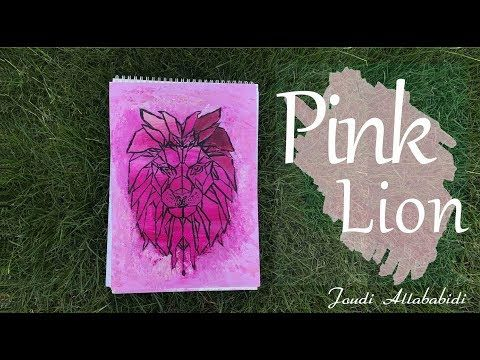 Painting Pink Lion رسم أسد بطريقة جديدة Youtube Art Book Cover Lion
