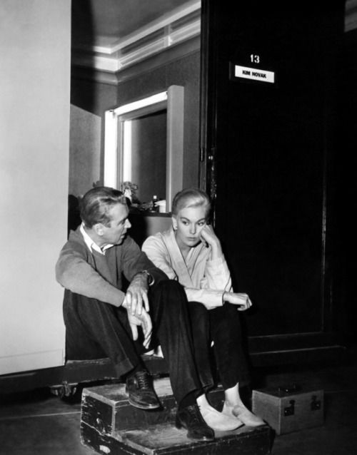 Jimmy Stewart and Kim Novak take a break on-set of Vertigo (1958)
