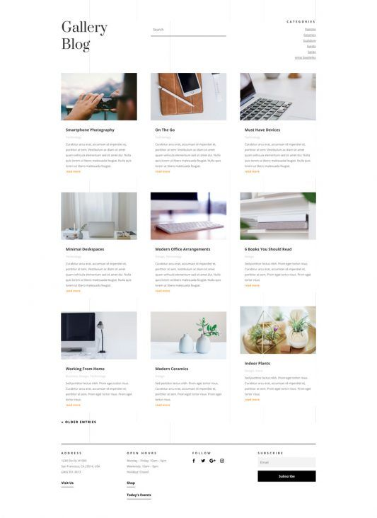 Art Gallery Landing Page Elegant Themes Web Design Gallery Art Gallery Websites Web Layout Design