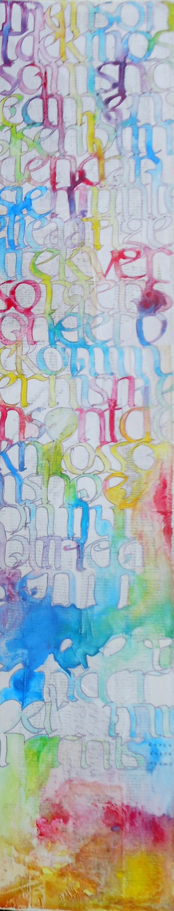 Poetry by Koos van der Merwe  1000 x 200mm Acrylic ink on wood  Price on request  www.letterdance.co.za