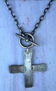 "Hand forged sterling 'cross'. 16"". UNISEX."