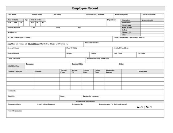 Basically, records need to be maintained of the starting date of employment contract, the end date or contract end date, the provisions of the employment agreement, details of overtime, leave accruals, contributions made and. Employee Record Form Template Free Bicim