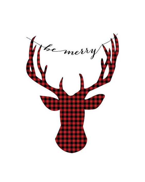 buffalo plaid deer quot be merry quot typography print 8 x10