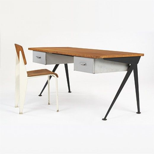 Jean Prouve  					Compass desk and Standard chair  Ateliers Jean ProuveFrance, c. 1950, enameled steel, oak, aluminum, beech 63 w x 27.5 d x 28.25 h inches. s16.8