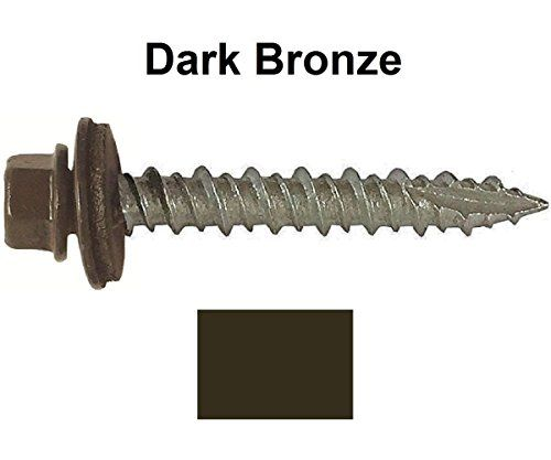 Cheap Metal Roofing Screws 250 Screws X 1 Dark Bronze Hex Washer Head Sheet Metal Roof Screw Self Starting Self Tapping Metal To Wood Sheet Metal Roofing Si
