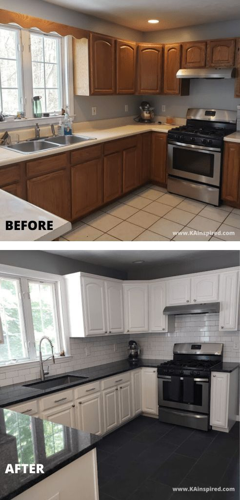 KITCHEN REMODEL BEFORE AND AFTER - KAinspired #kitchen #kitchenrenovation  #kitchenremodel #kitchenbefore andafter #beforeandafter #homedecor #kitchenprojects #diyprojects #kitchendecor #kitchenideas #KAinspired