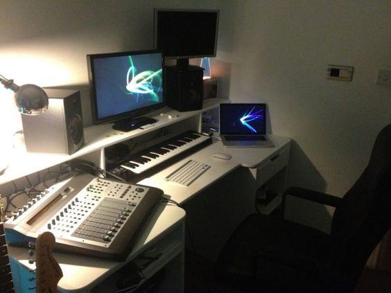 Home recording studios studios and home on pinterest for Studio desk ikea