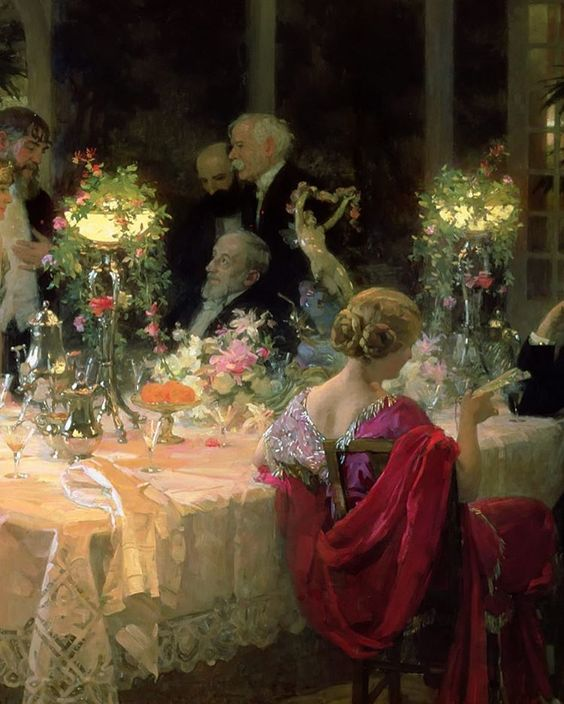 The End of Dinner, 1913 by Jules-Alexandre Grun (detail)