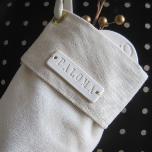 Ceramic Stamped Name Tag for a Personalised Christmas Stocking