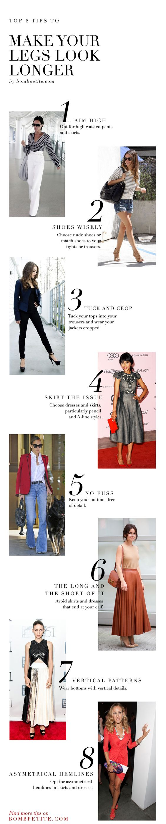 Cheat your way to long legs with our style tips for petite women. Some simple cropping and tucking can turn you into a long legged glamazon.: