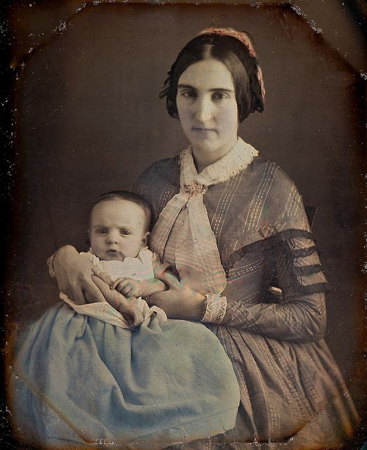 Baby in Blue, 1/6th-Plate Tinted Daguerreotype, Circa 1849