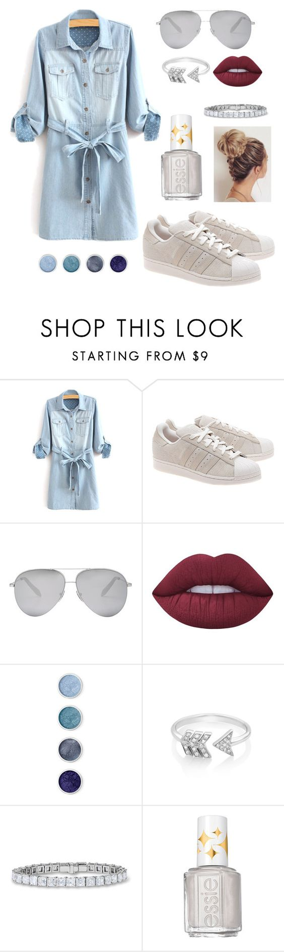 """Simple."" by ejayy1215 ❤ liked on Polyvore featuring adidas Originals, Victoria Beckham, Lime Crime, Terre Mère, EF Collection and Essie"
