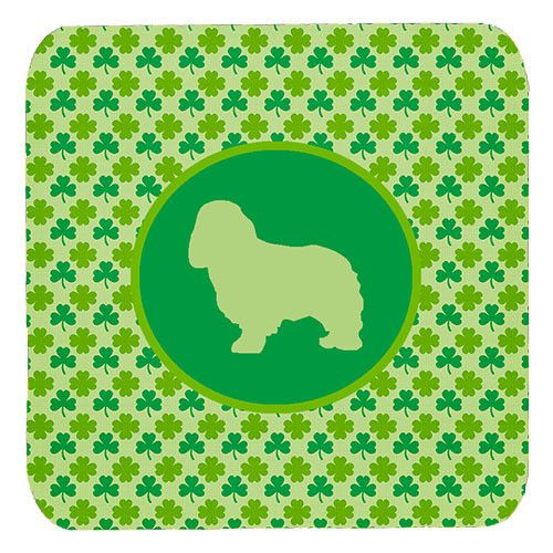 Set of 4 Cavalier Spaniel Lucky Shamrock Foam Coasters