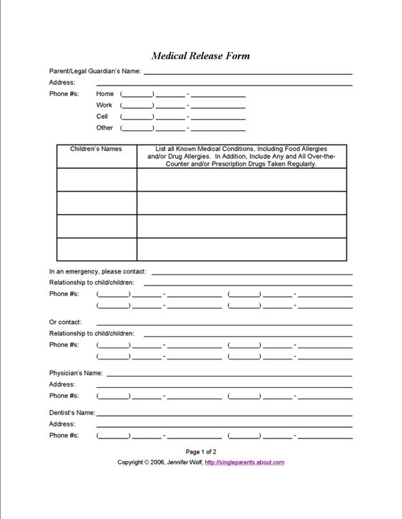affidavit of parental consent form Mexico Pinterest - medical release form sample