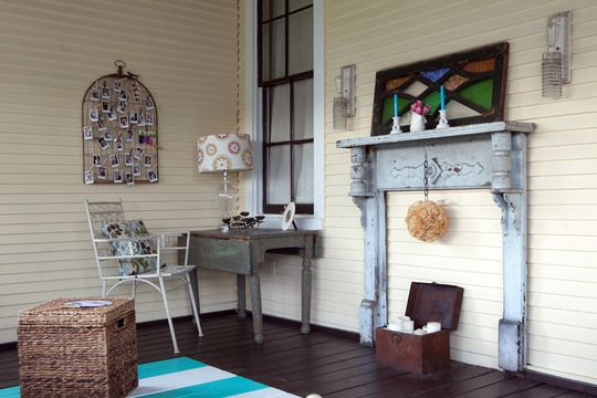 love the outdoor mantel; Ruthie's house from Apartment Therapy