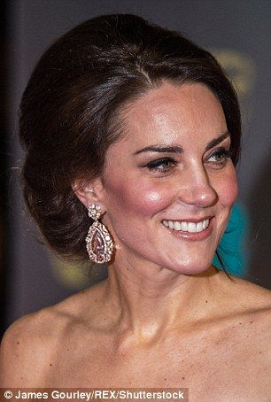 While at the Baftas this year, the Duchess of Cambridge is princess-like with a softly swept up-do: