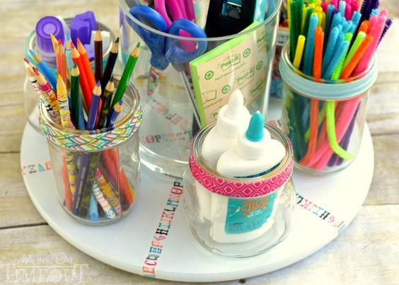 Organize your craft area with a Lazy Susan to find what you need easily.