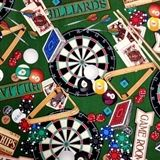 Man of the House Bar Games Darts, Billiards and Poker Cotton Fabric