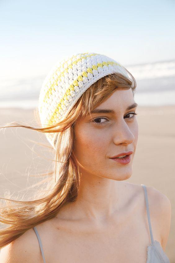 Weiß und Hellgelb - Gehäkelte Mütze mit ggh-Garn COTTINA (100% Baumwolle), Garnpaket zu Modell 3 aus Rebecca Nr. 62