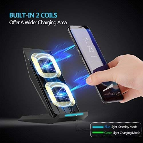 Wannap WA/_R3 1G4B Wireless car Charger,Wireless Charging for Samsung S9 S9Plus S8 S8Plus S7 S7 Edge S6 Edge Plus Note 5 Note 7 Note 8、Apple iPhone X//8//8 Plus and All QI-Enabled Devices