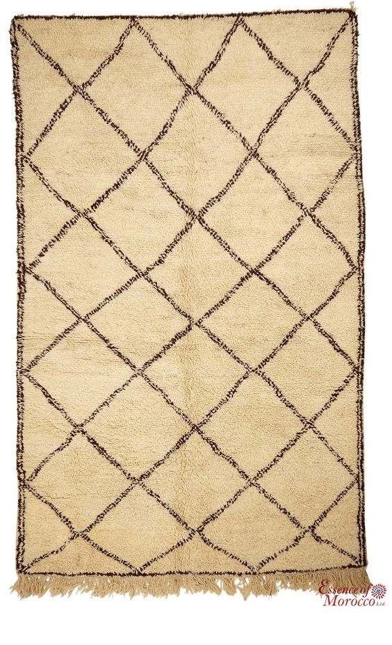 Beni Ourain Rug Vintage. Moroccan Pure Wool . Hand-knotted Handmade in Morocco Genuine and Authentic. 297 cm x 187 cm (BOJ6)